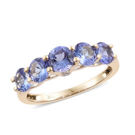 9K Yellow Gold Tanzanite (Rnd), Diamond Five Stone Ring 2.000 Ct.