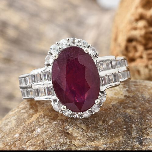 African Ruby (Ovl 8.25 Ct), Natural Cambodian Zircon Ring in Platinum Overlay Sterling Silver Ring 10.250 Ct. Silver wt 5.53 Gms.