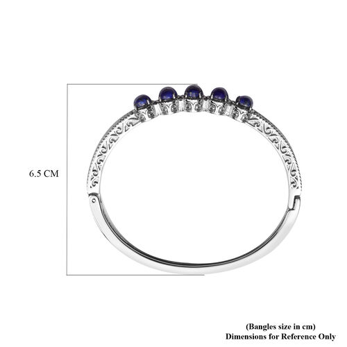 Lapis Lazuli Bangle (Size 7) in Stainless Steel 1.25 Ct.