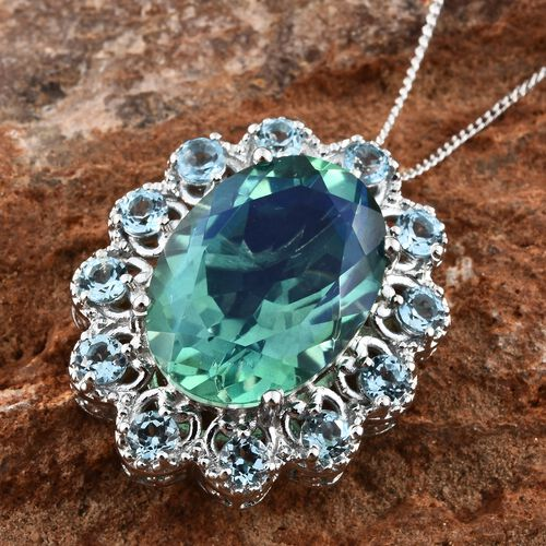 Peacock Quartz (Ovl 12.50 Ct), Blue Topaz Pendant with Chain in Platinum Overlay Sterling Silver 14.000 Ct. Silver wt 5.69 Gms.