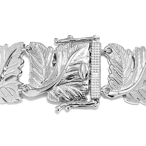 Designer Inspired Oak Leaf Bracelet (Size 7.5) in Silver Plated