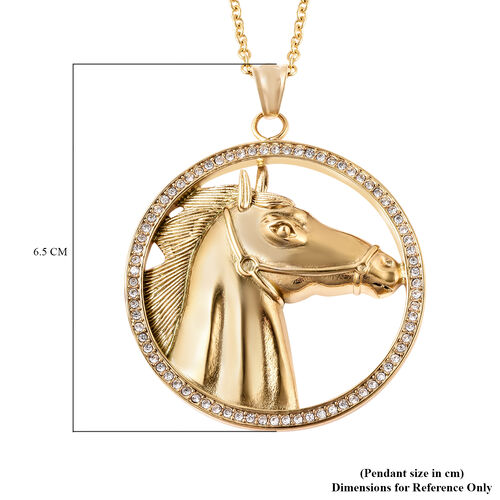 White Austrian Crystal Horse Pendant with Chain (Size 28) in Yellow Gold Overlay Stainless Steel