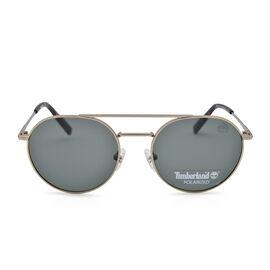 TIMBERLAND Gold Retro Aviator Sunglasses with Green Lenses