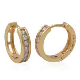 ELANZA Simulated Diamond Hoop Earrings in Yellow Gold Plated Sterling Silver