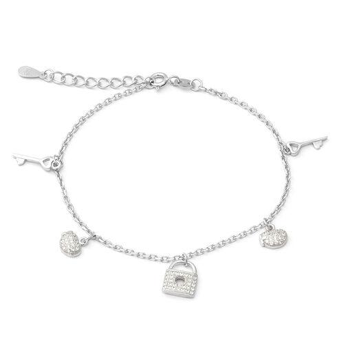 ELANZA Simulated Diamond (Rnd) Adjustable Charm Bracelet (Size 7 with 1 inch Extender) in Rhodium Ov
