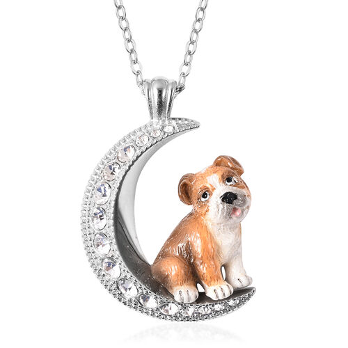 White Austrian Crystal Engraved Moon and Enamelled Bulldog Pendant with Chain (Size 20) in Stainless