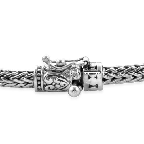 Royal Bali Collection - Sterling Silver Tulang Naga Buckle Bracelet(Size 8), Silver wt 29.32 Gms