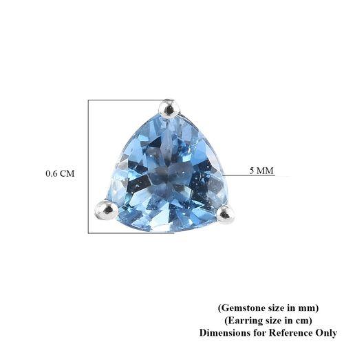 RHAPSODY 950 Platinum Santamaria Aquamarine Stud Earrings 0.74 Ct.