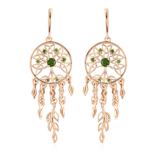 LucyQ Russian Diopside and Zircon Dream Catcher Earrings in Gold Plated Silver 9.42 Grams