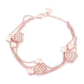 RACHEL GALLEY 8 Inch Connecting Heart Bracelet in Rose Gold Plated Sterling Silver 15.45 Grams
