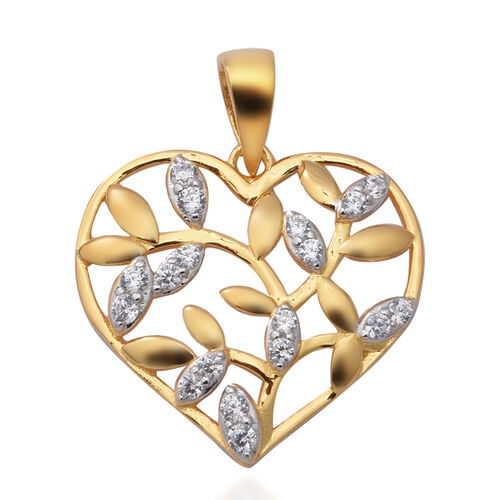 ELANZA Simulated Diamond Pendant in Yellow Gold Overlay Sterling Silver