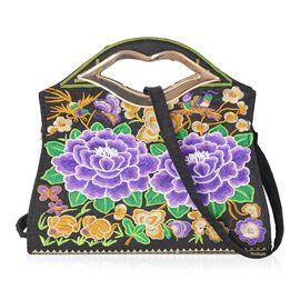 Purple and Multi Colour Floral Pattern Tote Bag (Size 30.5x9x19 Cm) with Detachable Shoulder Strap