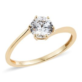 J Francis 9K Yellow Gold (Rnd) Solitaire Ring Made with SWAROVSKI ZIRCONIA