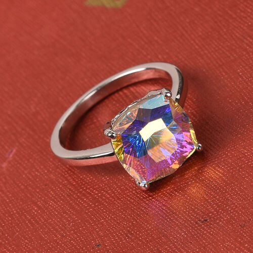 J Francis Crystal from Swarovski AB Crystal Ring in Platinum Overlay Sterling Silver