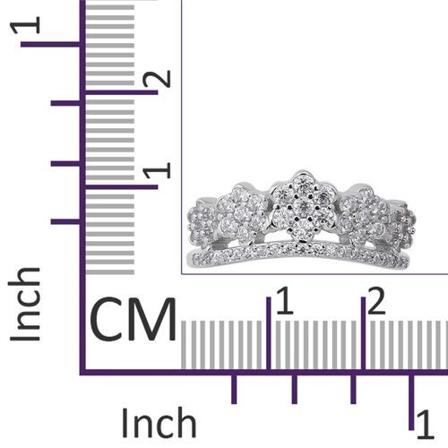 ELANZA Simulated Diamond (Rnd) Floral Cluster Ring in Rhodium Overlay Sterling Silver, Silver wt 3.27 Gms