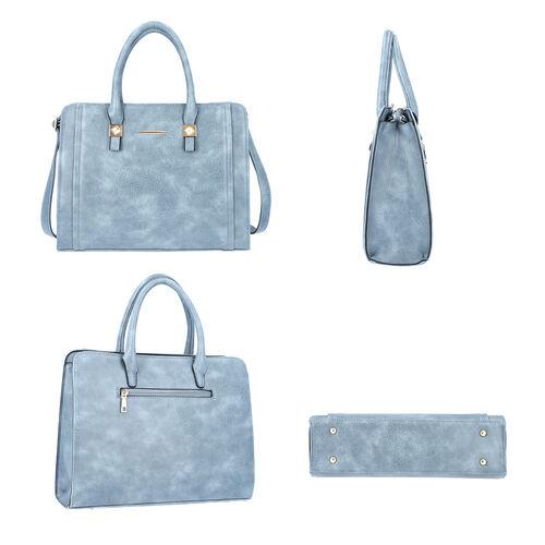 Blue Satchel Bag with Zipper Closure and Adjustable Shoulder Strap (Size 35x9x27 Cm)