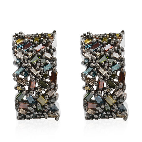 Designer Inspired Rainbow Diamond (Bgt and Rnd) Earrings (with Push Back) in Black and Platinum Overlay Sterling Silver 1.000 Ct.