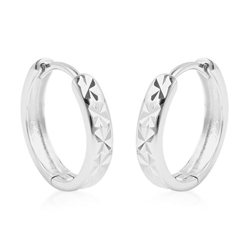 Rhodium Overlay Sterling Silver Diamond Cut Hoop Earrings (with Clasp), Silver wt 3.40 Gms