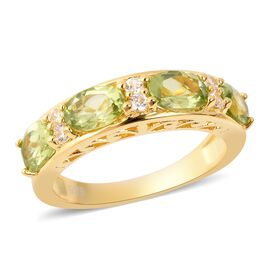 Hebei Peridot (Ovl), Natural White Cambodian Zircon Ring in Yellow Gold Overlay Sterling Silver 2.10