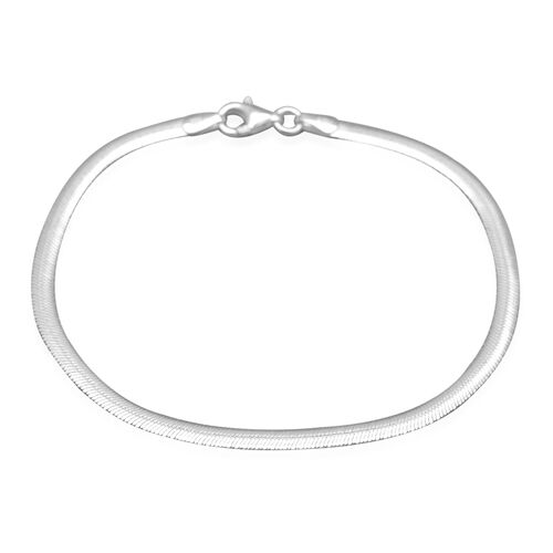 Italian Made - Sterling Silver Flat Snake Bracelet (Size 7)