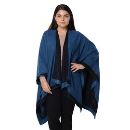Reversible London Blue and Black Loose Fitting Kimono (L-80 Cm)