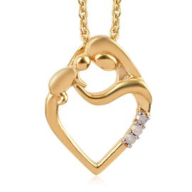 Diamond (Rnd) Mother Child Love Pendant with Chain in 14K Gold Overlay Sterling Silver 0.03 Ct.