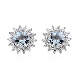 Espirito Santo Aquamarine (Rnd), Natural Cambodian Zircon Stud Earrings (with Push Back) in Platinum