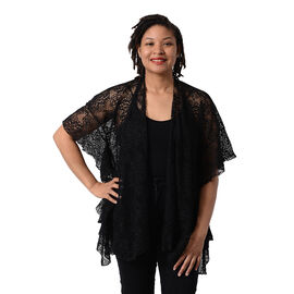 Jovie Floral Lace Kimono in Black (Size 70x75cm)