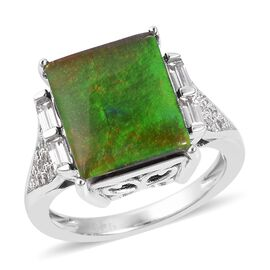 Canadian Ammolite and White Zircon Cocktail Ring in Sterling Silver 5.5 Grams, 3.07 Ct