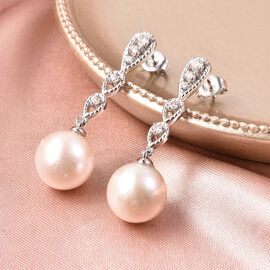 Edison Pearl and Natural Cambodian White Zircon Dangle Earrings (with Push Back) in Rhodium Overlay Sterling Silver