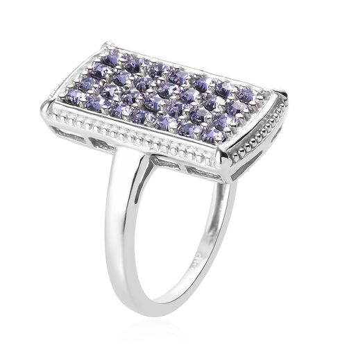 J Francis - Crystal from Swarovski Tanzanite Colour Crystal Cluster Ring in Platinum Plated