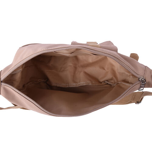 PASSAGE Beige Colour Crossbody Bag with Flap and Slip Pockets in Front and Zipper Pocket in Back (36x11x24cm)