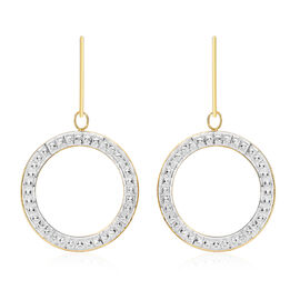 Hatton Garden Close Out Deal- 9K Yellow and White Gold Circle Drop Hook Earrings