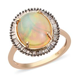 9K Yellow Gold Ethiopian Welo Opal and Champagne Diamond Halo Ring 3.36 Ct.