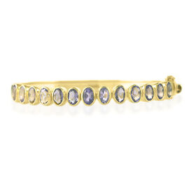 Hong Kong Close Out Deal Amethyst (Ovl) Bangle (Size 7.5) in Yellow Gold Vermeil Sterling Silver 6.000 Ct. Silver wt 17.50 Gms.