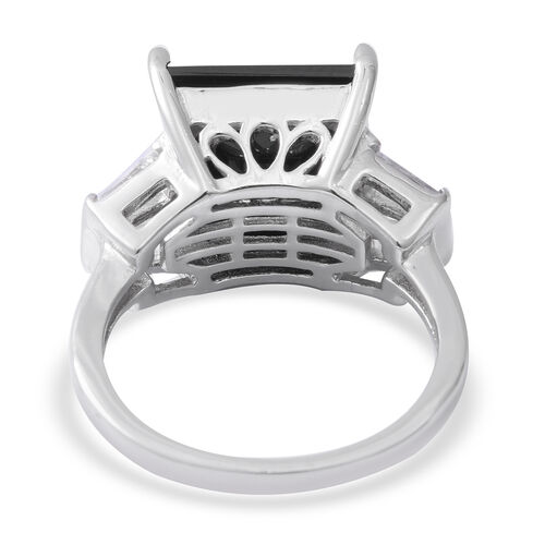 Boi Ploi Black Spinel (Sqr 10.40 Ct), White Topaz Ring in Rhodium Overlay Sterling Silver 10.880 Ct, Silver wt 5.00 Gms.