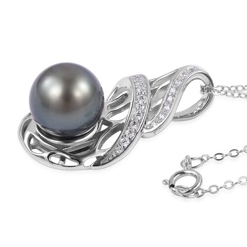 Tahitian Pearl (Rnd 10-10.5mm), Natural White Cambodian Zircon Pendant with Chain (Size 18) in Rhodium Plated Sterling Silver