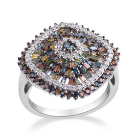 0.9 Ct Rainbow Colour Diamond Ring in Platinum Plated Sterling Silver 8.9 Grams