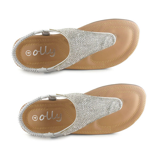 OLLY Samba Toe Post Comfort Sandal (Size 4) - Silver