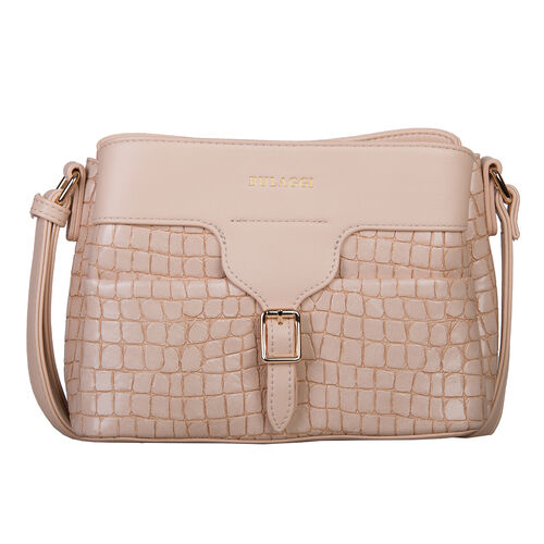 Bulaggi Collection - Ginger Crossbody Bag with Crocodile Texture and Adjustable Shoulder Strap (31x1