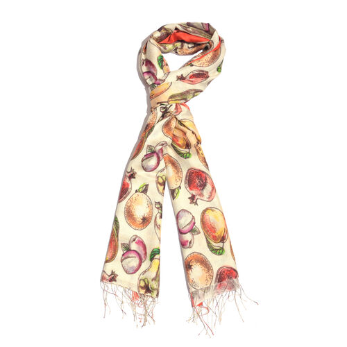 100% Katan Silk Cream, Red and Multi Colour Digital Print Fruits Pattern Scarf with Tassels (Size 20