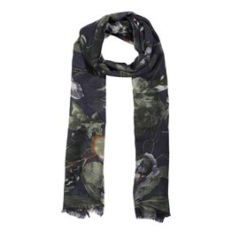 100% Merino Wool Floral Pattern Scarf (Size 70x180 Cm) - Navy Blue