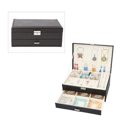 Two-Layer Black Jewellery Box with Multiple Compartments and Lock & Key (Size 27x19x10.5cm)
