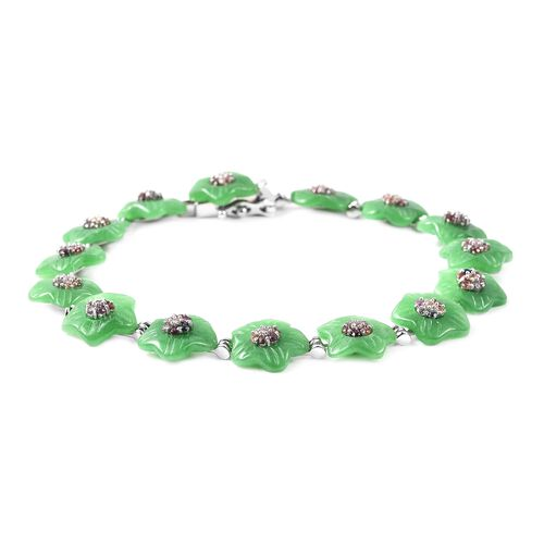 Carved Green Jade and Multi Sapphire Floral Bracelet (Size 6.75) in Rhodium Overlay Sterling Silver 43.16 Ct.