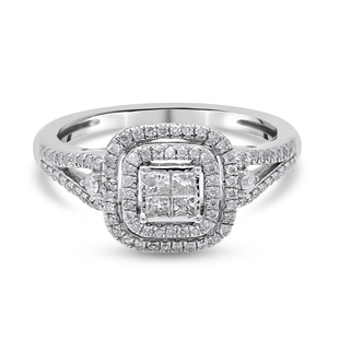 NY Close Out Deal- 10K White Gold Diamond (I3/G-H) Ring 0.50 Ct.