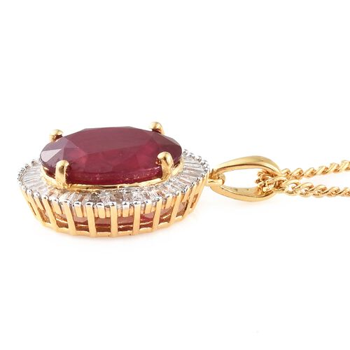 Signature Collection - African Ruby (Ovl), Diamond Pendant with Chain (Size 30) in 14K Gold Overlay Sterling Silver 13.000 Ct, Silver Wt 8.00 Gms.