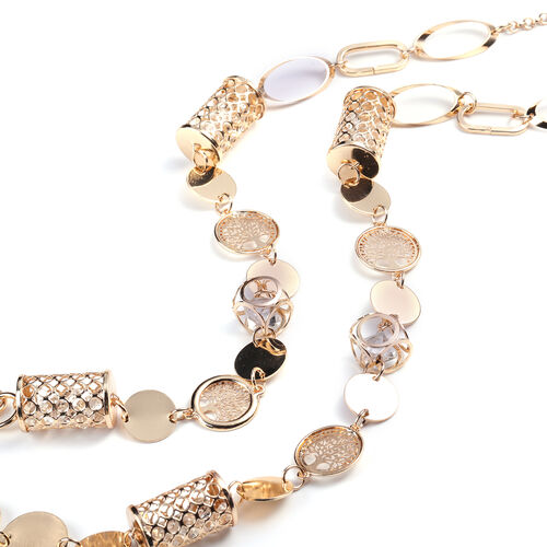 White Austrian Crystal Necklace (Size 42 with 2 inch Extender) in Gold Tone
