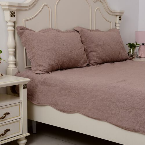 Stone Washed King Size Fully Embroidered Quilt Set with 2 Pillow Shams in Dusky Rose Colour  (240x260 and 2 Pcs. 50x75 cm)