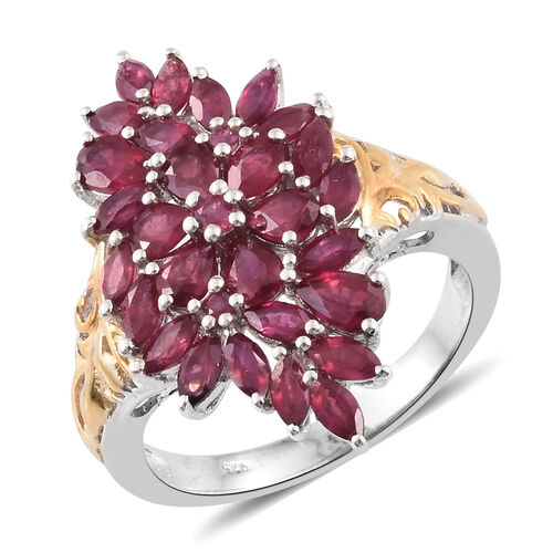 African Ruby (Pear) Cluster Ring in Platinum and Yellow Gold Overlay Sterling Silver 3.750 Ct.