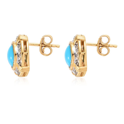 Arizona Sleeping Beauty Turquoise (Rnd), Natural White Cambodian Zircon Earrings (with Push Back) in 14K Gold Overlay Sterling Silver 2.500 Ct